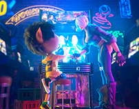 Cool Pig boy character scene design