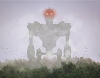 Photomanipulation - Giant robots in deep fog
