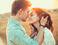 Beautiful couple in love outdoor on the sunset.