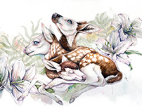 Three Headed Deer Watercolour Illustration