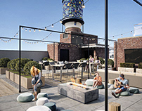 3D render of a Rooftop Space