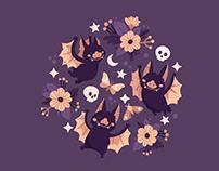 Rosy Bats Pattern Design