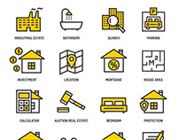 Real estate business outline vector icons set