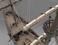 Medieval ship of Christopher Columbus - reefed sails