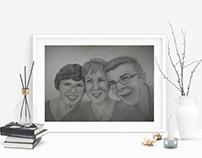 Семейный портрет (А4, простые карандаши, уголь)