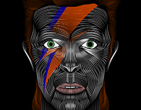 David Bowie- Ziggy Stardust Vector Line Illustration
