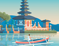 Bali Indonesia Retro Travel Poster City Illustration