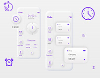 Neumorphism Clock App UI | Ticks