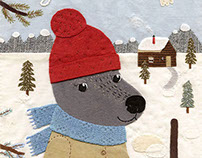 "Illustrated story ""Robert the wolf in winter"""