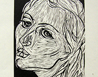 Portrait linocut