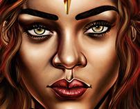 Rihanna Illustration In Gold