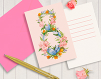 Watercolor lettering cards 8 March