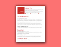Free Creative Red Resume Template with Elegant Design
