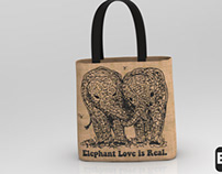 The cute baby elephant tote bag
