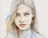 Geometric light--watercolor pencil