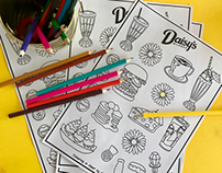 Illustrated Colouring in Sheets for Daisy's Milkbar