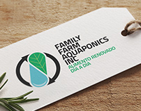 Logotipo y etiquetas para Family Farm Aquaponics Inc.