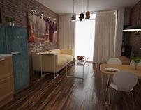 Living room with kitchen corner