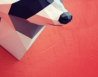 Papercraft raccoon head
