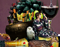 "Fruit&Kimono Art Photo Series - ""Grape"" Collage"