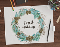 Watercolor pinecones wreath