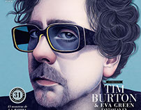 Tim Burton cover for CINEMANIA magazine. October 2016.