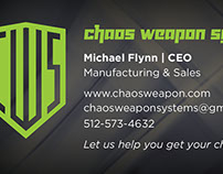 Business cards for Chaos Weapon Systems