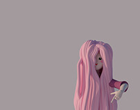 Animation of a girl with incredibly long hair