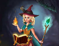 illustration: Witch in forest