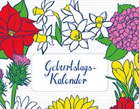 Wall calendar Birthday Flowers