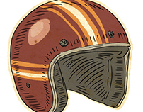 drawing of an open faced helmet.