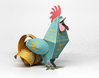 Paper Toy Rooster for Chinese New Year