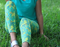 Floral Leggings Toxic Green Pattern
