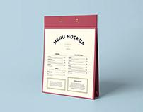 Free Restaurant Menu Display Table Stand Mockup