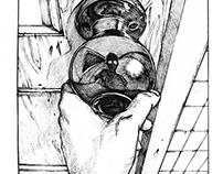 """OTAKU""是御宅族的意思,零散记录的一系列以""宅""为主题的黑白插画,  我们都活在自己构建的世界里,这个狭"