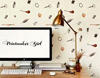 Printmaker Girl's Handmade Pattern Design