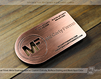 Rustic Copper Finish Metal Business Card