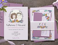 Custom Illustrated Couple Portrait Wedding Suite