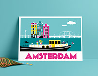 Amsterdam Postcards | Vector illustration