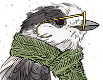 Gray Jay Hipster Bird