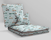 Minky Pillows and Blanket Pattern Design Mock-up Set