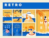 Retro Flat Design Summer poster template