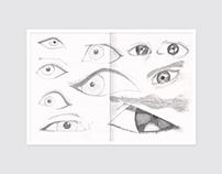 Boceto lápiz ojos orejas nariz boca manos pies