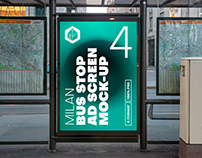 Milan Bus Stop Advertising Screen Mock-Ups 8 (v3)