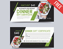 Dinner – Free Gift Certificate PSD Template