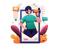 Woman Doing Email Marketing Illustration