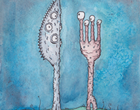 Monster Knife and Monster Fork Painting