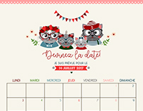 Calendrier Baby shower - Thème chats