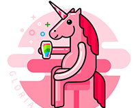 Pink Unicorn drinks rainbow in the bar