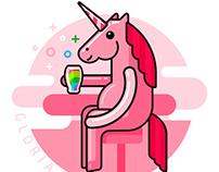 Pink Unicorn drinks rainbow in the bar